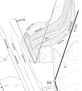 Road side ditch represented as breaklines and contours