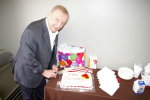 Don - about to cut the cake