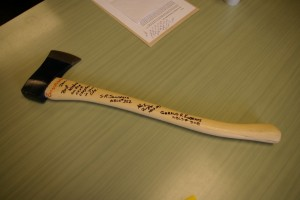 Fellow Land Surveyors presented Don with a signed ax in honor of the many blazed lines retraced and established