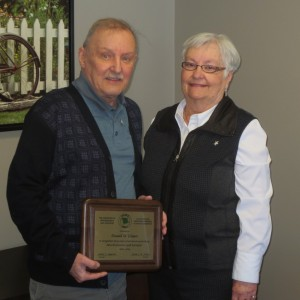 Don and his wife Jean with the 50 year certificate